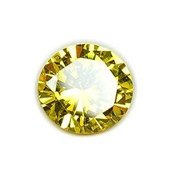 55Carat Cubic Zircon Stone 6.5 Ratti Round Jarkan Loose Gemstone Yellow