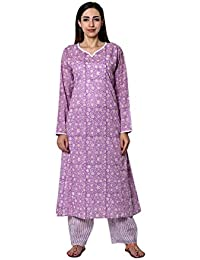 Pink Lemon Purple Foliage Printed Cotton Long Kurta combined with striped Parallel (set of 2)