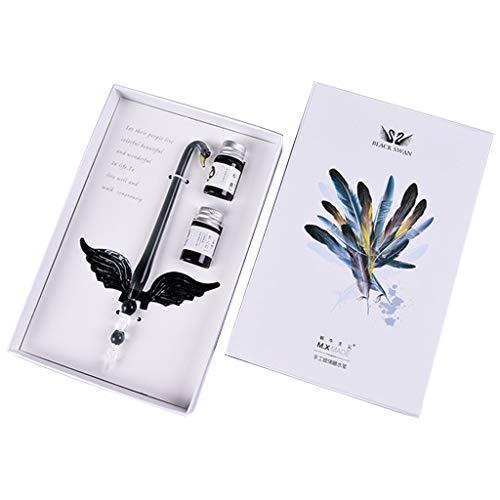 Dip Pen Füllfederhalter, englische Kalligraphie Swan, Vintage-Stil, handgefertigt, Glas mit 2 Tinten in Geschenkbox zum Schreiben von Schreibwaren, Füllfederhalter 01