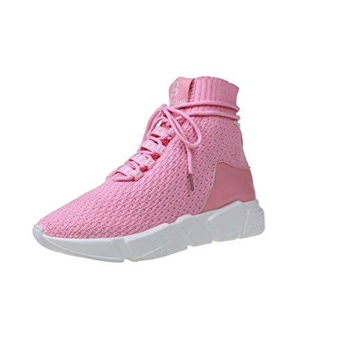 Sport schuhe Couples casual shoes Dicken sohlen Herbst-schuhe Socken schuhe-rosa Fußlänge=26.3CM(10.4Inch) (Knöchel-socke Star Ein)