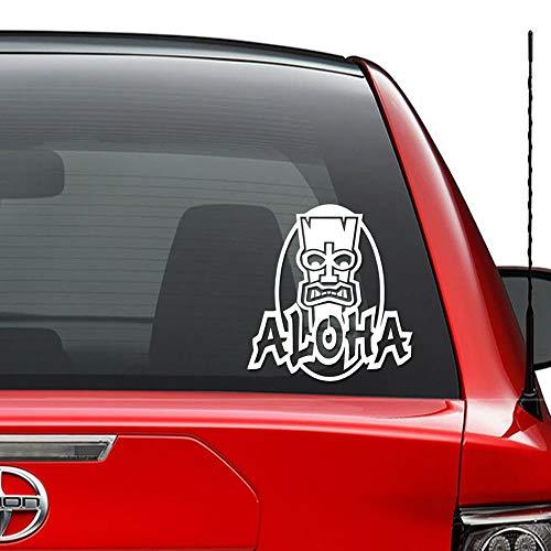 oha Tiki Totem Pole Hawaii Vinyl vorgestanzte Aufkleber für Fenster Wand Dekor Auto LKW Fahrzeug Motorrad Helm Laptop und mehr - Größe (06 Zoll / 15 cm hoch) / (Farbe Glanz Schwarz ()