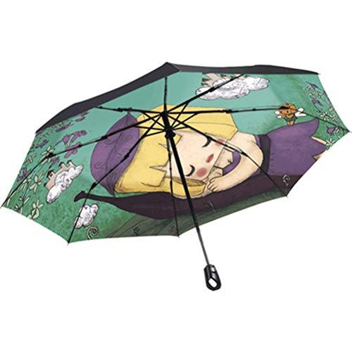 BEI-YI - Regenschirm Umbrella - Household Umbrella Folding Regen und Regen Regenschirm Sonnencreme Sonnenschutz Sonnenbrillen Langlebig (Color : A)