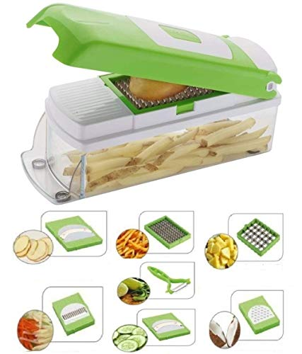 NOVEL Stainless Steel Vegetable and Fruit CHIPSER Chopper, Slicer, Cutter with 6 Blades and 1 Pillar Inside (Green)