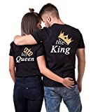 Daisy for U King Queen Pärche Shirts Set für Paar Partner Look T-Shirt Velentienstag Geschenk Tops Paare Baumwolle mit Aufdruck Queen-1 Stücke Schwarz-S(Damen)