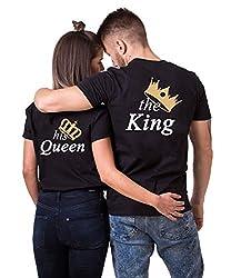 Daisy for U King Queen Pärche Shirts Set für Paar Partner Look T-Shirt Velentienstag Geschenk Tops Paare Baumwolle mit Aufdruck King-1 Stücke Schwarz-L(Herren)