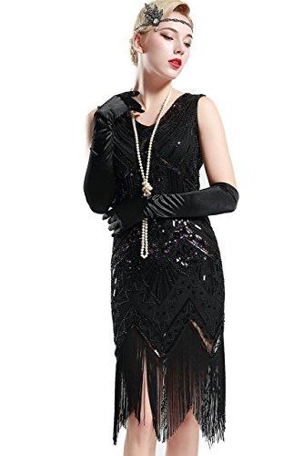 BABEYOND Damen Flapper Kleider voller Pailletten Retro 1920er Jahre Stil V-Ausschnitt Great Gatsby Motto Party Damen Kostüm Kleid (Größe XL / UK 18 / EU46, glamourös Schwarz) (Kleid Schwarz Jahre 20er)