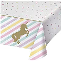 Unicorn Plastic Tablecloth Unicorn Birthday Party Supplies Disposable Table Covers Cute Unicorn Party Decorations for Girls and Baby Shower (1 Piece)