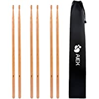 5A Drumsticks, AIEX 3 Pair Drum Sticks Classic Maple Wood Drumsticks Wood Tip Drumstick for Students and Adults (with Waterproof Bag)