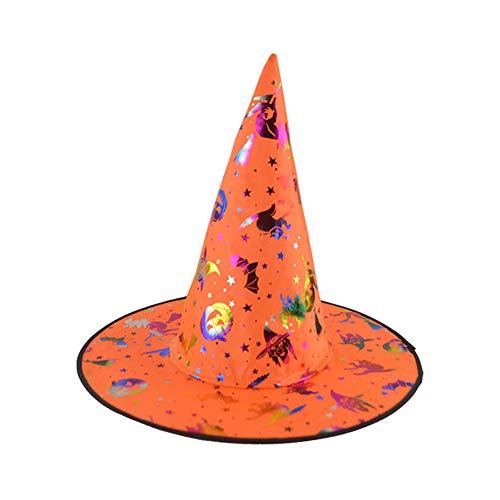 Niedliche Magier Kostüm - LYY.YY Heißprägen Kopfbedeckungen Hexe Kürbis Hut Bekleidungszubehör Magier Hut Halloween Tanzshow Requisiten Party Spitze Hut (5 Stück),Orange