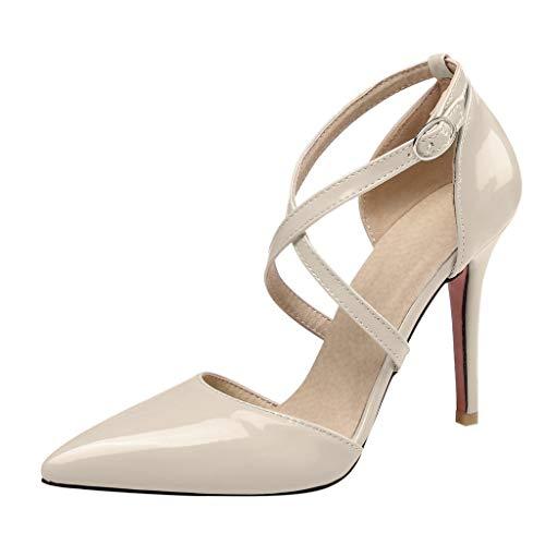 feiXIANG Damen Stiletto High Heel Pumps Hochzeit Abiball Pumps Cross Straps Schuhe PU Leder Sandalen (Beige,41) -