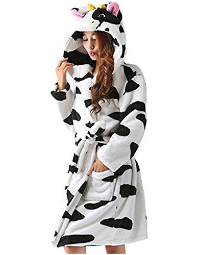 Kenmont Damen Bademantel/Morgenmantel mit Kapuze Robe Nachtwäsche Tier Kostüme Pyjama (M: 157-166cm, (Kostüm Bademantel Frauen)