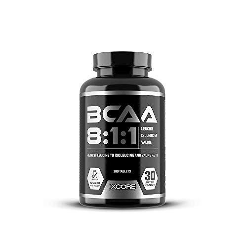 Xcore nutrition complexe de BCAA - 2400 mg de leucine, 300 mg de valine et 300 mg d'isoleucine - 180 comprimés