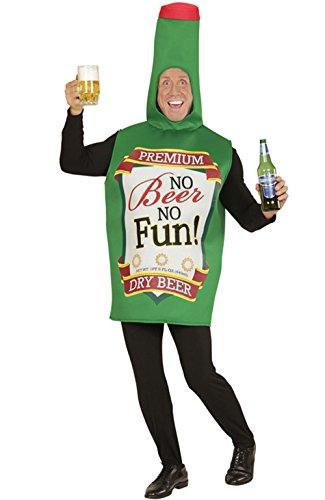 Party-Teufel Bierflasche Kostüm Flaschenkostüm in grün Herren Aufschrift No Beer No Fun Einheitsgröße Männer Junggesellenabschied