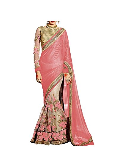 Ocean Dream Net & Benglori Saree (Srp002_Peach)