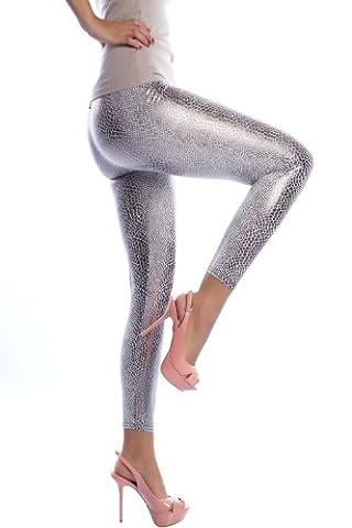 Damen Leggings im trendigen Schlangenlook, glänzend Silber, L-9906-Silber (Silber)