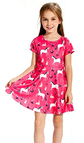 Funnycokid Girls Summer Dress Short Sleeve Dresses 2-9 Years