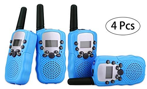 Kinder Walkie Talkies 4 Stück Long Range Kids Walky Talky UHF 446MHz 8 Kanäle Zwei-Way-Radios mit LED-Licht auf dem Top