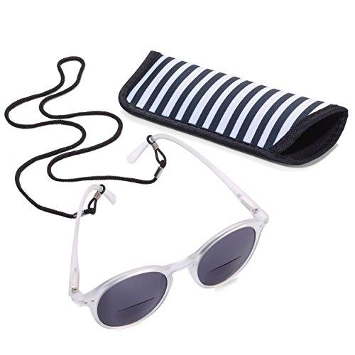Troika SUN READER 2 - SUR20/WH- Lesesonnenbrille mit Etui - bifokal - Stärke +2,00 dpt - Lesebrille + Sonnenbrille - Polykarbonat/Acryl/Mikrofaser - weiß - das Original