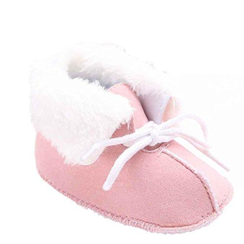 Hunpta Neue jungen Lauflernschuhe Baby Schneestiefel weiche Sohle weiche Krippe Schuhe Kleinkind Boot (12, Rosa) Rosa