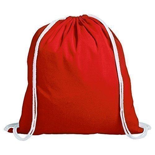 1 Kinder Cotton Kordelzug Rucksack - Turnhalle, Schwimmen, Sport, PE, Schulranzen Rot