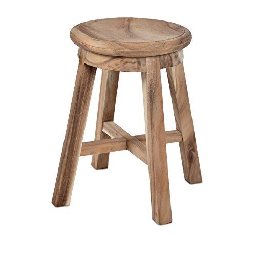 Divero Hocker Sitzhocker Holzhocker Badhocker Duschhocker Schemel – Suar Holz massiv unbehandelt...