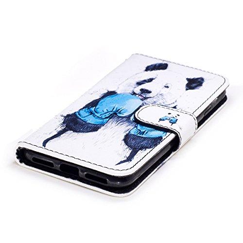 iPhone 8 Plus / iPhone 7 Plus Hülle, iPhone 8 Plus / 7 Plus Schutzhülle Leder Hülle, Alfort Flip Wallet Fashion Design Dual Use Falten Premium PU Leder Tasche Kartenfach Case Cover Flip Mappen Kasten  Boxing Panda
