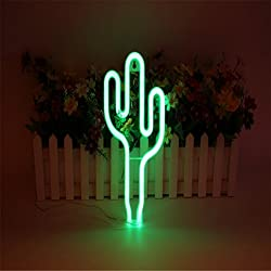 LEDMOMO Señales de neón Luces de la noche de cactus para la decoración del hogar de Navidad (verde)