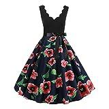 JMETRIC Damen Freizeitmode Gürtel Kleid ärmellos V-Ausschnitt Knielock mit Blumendruck(Rot,M)