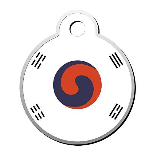 SeCag Flagge von Korea Pet ID Tags Hund Tag Katze Zink Legierung Runde Identität Geformt Anhänger Trendy Pets Drehmoment Duplex Bedruckt-DIY Design für Welpen Kätzchen
