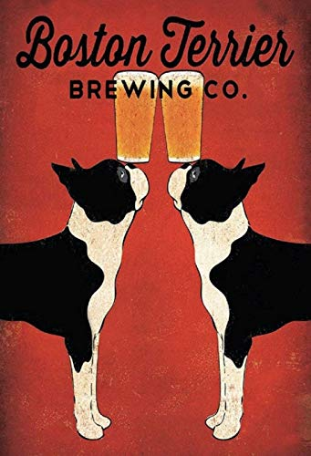 BlechschilderWelt Cartel de Chapa Boston Terrier Brewing Co. Alcohol Cerveza Perros Deko