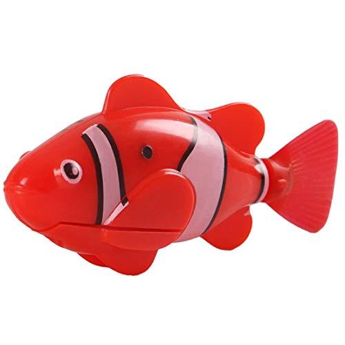 SHIZHESHOP Fischhai Schwimmen im Wasser elektrische Spielzeug für Katze, lustige Schwimmen elektronische Fische batteriebetriebene Roboter Spielzeug (Color : Red) (Spielzeug Katze Batteriebetriebene)