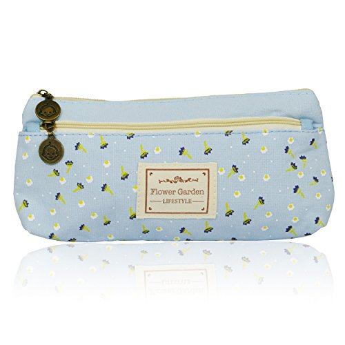 Pasey Idyllic Small Floral Double Zipper Pencil Case Feder-Beutel, hell blau