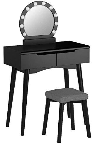 VASAGLE Schminktisch mit Beleuchtung, Frisiertisch mit Spiegel und Glühbirnen, Kosmetiktisch, Frisierkommode, für EIN perfektes Make-up, gepolsterter Hocker, 2 große Schubladen, Schwarz RDT11BL