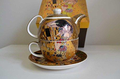 Gustav Klimt Tee for One 'Der Kuss' Porzellan mit Geschenkbox NEU Limited Collection beige