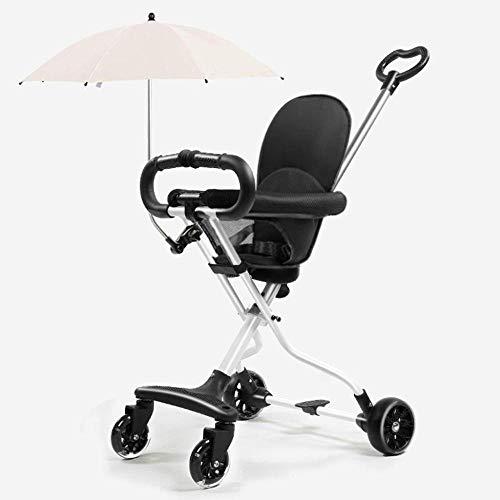 WYARU Kinderwagen Leicht Zusammenklappbarer Kinderwagen Einhändig Für 1-6 Jahre Mit Sonnenschirm Bequemer Sitz 85 * 62 * 36 cm,White - 1 Sonnenschirm 2