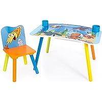 Preisvergleich für Homestyle4u 1123 Kindersitzgruppe Meer Fische, Kindermöbel Set aus 1 Kindertisch und 1 Stuhl mit Papierrolle, Holz Blau