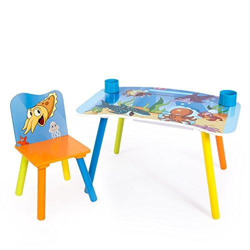 Homestyle4u Kinder Studie Hausaufgaben Schreibtisch mit Sea World Motiv, Holz, mehrfarbig, 30x 30x 30cm