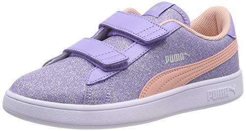 Puma Mädchen Smash V2 Glitz Glam V Ps Sneaker, Violett (Sweet Lavender-Peach Bud-Puma Silver-Puma White), 34 EU