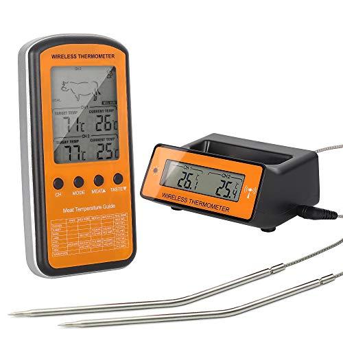 Fleisch-Thermometer,Digital drahtloser BBQ, der Thermometer mit Doppelfühler, Nahrungsmittelthermometer mit LCD-Bildschirm-Fernmonitor u. Warnung für Hauptküche-Ofen-Grill-Innenkochen im Freien kocht - Grill-bildschirm