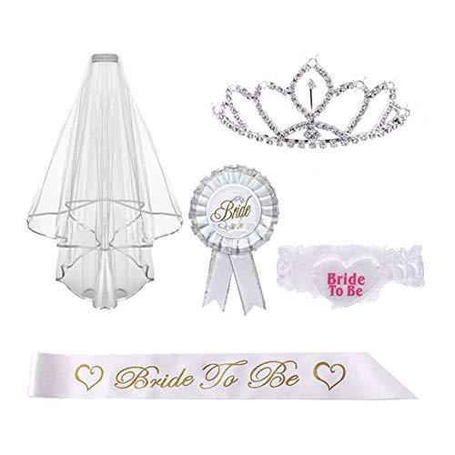 Qbisolo 5-teiliges Set für Junggesellinnenabschied, Tiara Krone, Hochzeit Schleier mit Kamm, Schärpe für Braut, Rosette und Strumpfband -