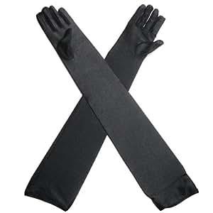TRIXES Longs gants d'opéra gothique noir pour femme, gants habillés pour soirée, style 1920
