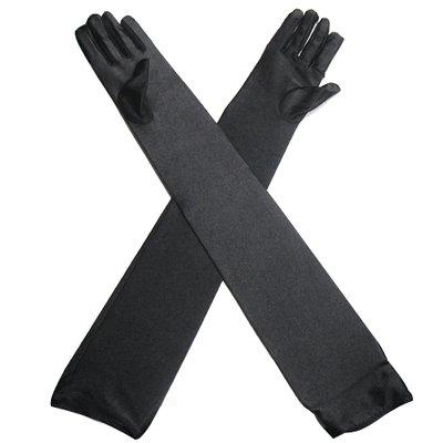 TRIXES Lange Gothic-Handschuhe Ellenbogen-Handschuhe in Schwarz für elegante Abendkleider der 20er (Sexy Lange Handschuhe)