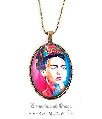 Collier pendentif cabochon, Frida Kahlo, Mexique, Bohême chic, gypsy, multicouleur,