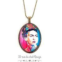 Collana di ciondolo Cabochon, Frida Kahlo, Messico, Bohemian chic, zingara, multicolore,