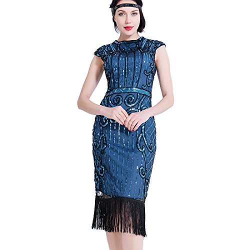 1920er Frauen Flapper Kleider Pailletten Perlen Art Deco Gatsby Party Vintage Fransen Fancy Dress Cocktail - Cocktail Fancy Dress Kostüm