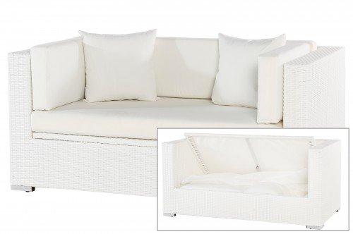 2-Sitzer Garten-Sofa mit Kissenboxfunktion Polyrattan weiß