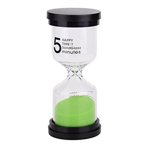 Multicolor Sablier - Coloré Sablier Sable Horloge Minuteur Outil de 5 minutes pour les enfants et la maison, 10,2 x 4,4 cm. Black + Green