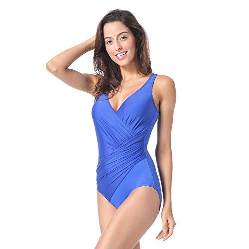 b4cb06e302c080 Delimira Damen Badeanzug Einteiler Schwimmanzug ohne Bügel Blau ...