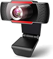 Webcam with Microphone, PC Laptop Desktop Computer Video Web Camera, Wide Angle HD Webcam 1080P for Video Conf