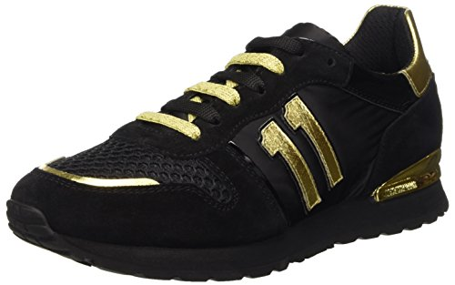 Bikkembergs Numb-Er 741 Shoe W Nabuk/Nylon, Scarpe Low-Top Donna, Nero (Black/Gold), 39 EU